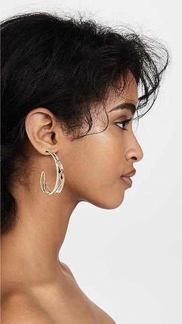 Alexis Bittar Crystal Encrusted Plaid Hoop Earrings