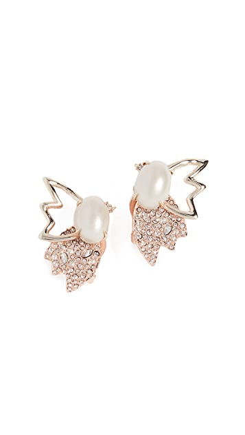 Alexis Bittar Crystal Encrusted Freshwater Cultured Pearl & Petal Clip on Earrings