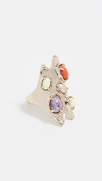 Alexis Bittar Sculptural Gold Stone Cluster Ring - Gold