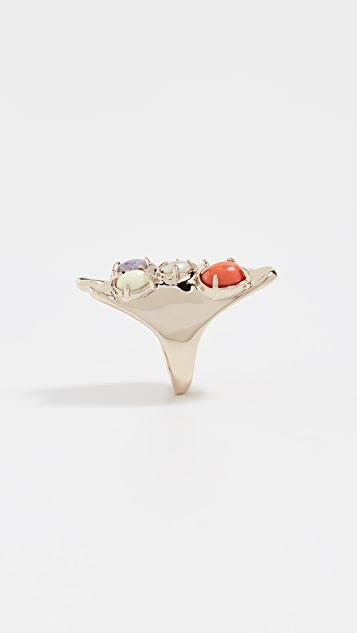 Alexis Bittar Sculptural Gold Stone Cluster Ring
