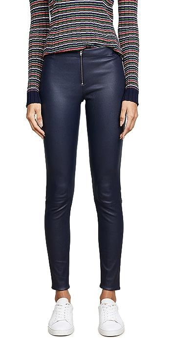 alice + olivia Zip Front Leather Leggings - Navy