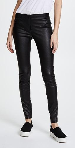 alice + olivia - 正面拉链皮贴腿裤