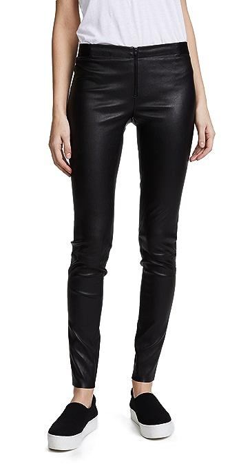 alice + olivia Zip Front Leather Leggings - Black