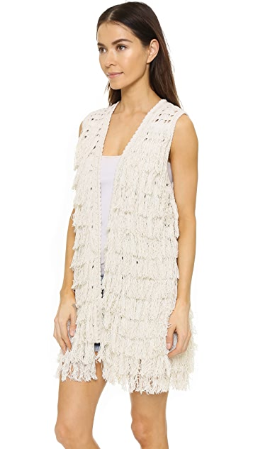 alice + olivia Weiss Fringe Vest