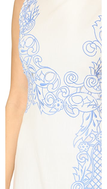 alice + olivia Malin Embroidered Boat Neck Dress