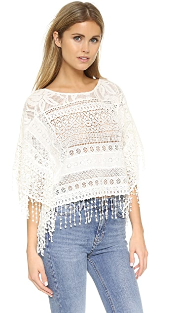 alice + olivia Danette Embroidered Fringe Poncho Top