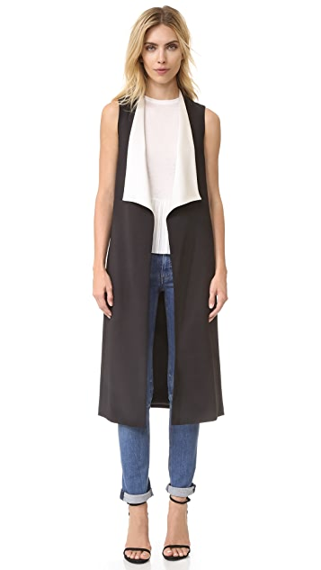 alice + olivia Keaton Long Draped Shawl Collar Vest