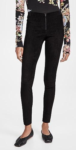 alice + olivia - 前拉链绒面革贴腿裤