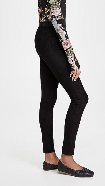 alice + olivia 前拉链绒面革贴腿裤