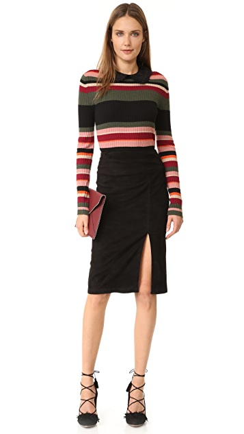 alice + olivia Tani Suede Skirt with Slit