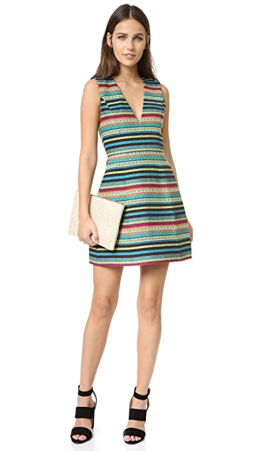 alice + olivia Piece & Co Pacey Low V Neck Lantern Dress