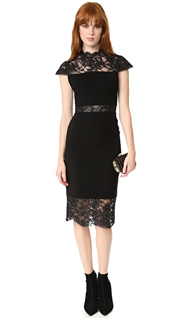 alice + olivia Kim Mock Neck Lace Dress
