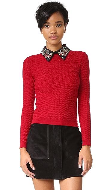 alice + olivia Brooke Embroidered Bird Collar Sweater