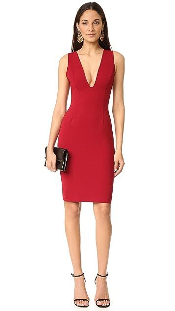 alice + olivia Esmira Fitted V Neck Dress