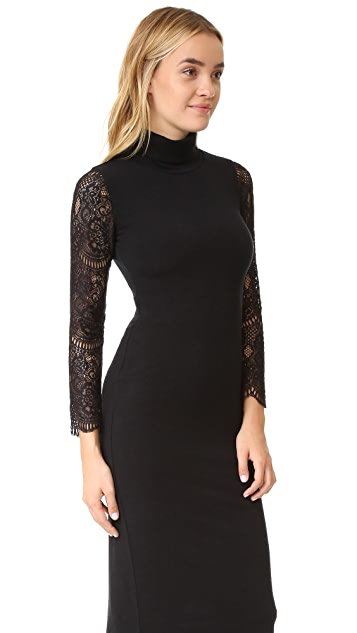 alice + olivia Kala Turtleneck Lace Sleeve Dress