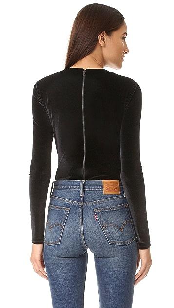 alice + olivia Lacy Velvet Bodysuit