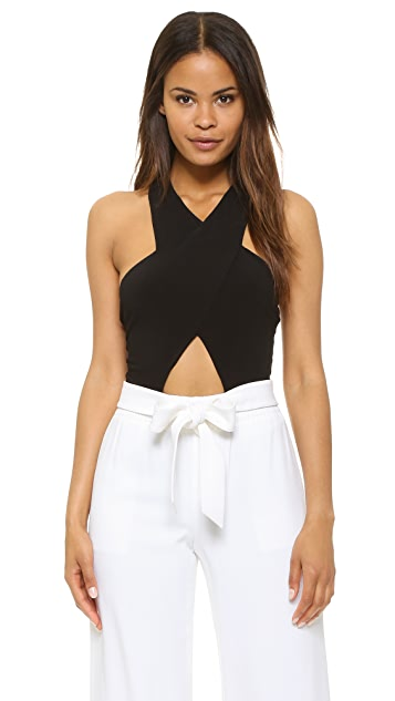 alice + olivia AIR Alyssia Cross Front Bodysuit