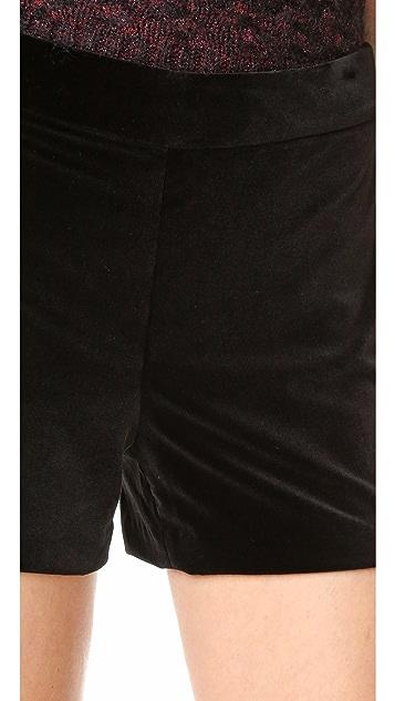 alice + olivia Marisa Zip Back Velvet Shorts