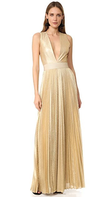 alice + olivia Carisa Sunburst Pleated Gown