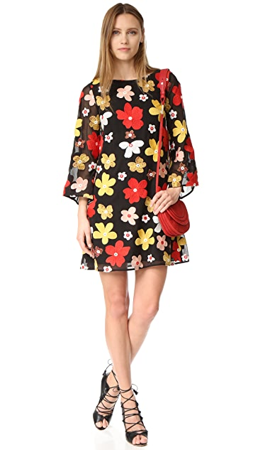 alice + olivia Eleonora Embroidered Flare Dress