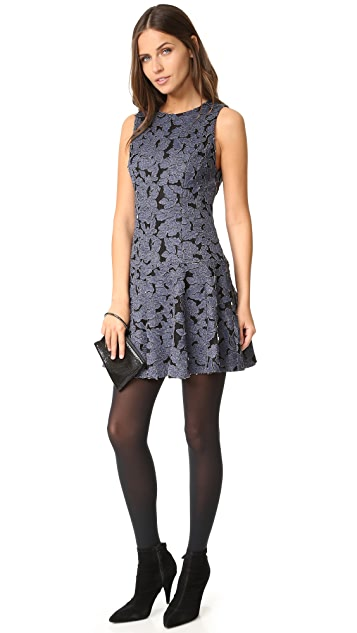 alice + olivia Fonda Crew Neck Drop Waist Dress