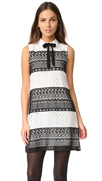 alice + olivia Hilly Collared Flare Dress with Bow