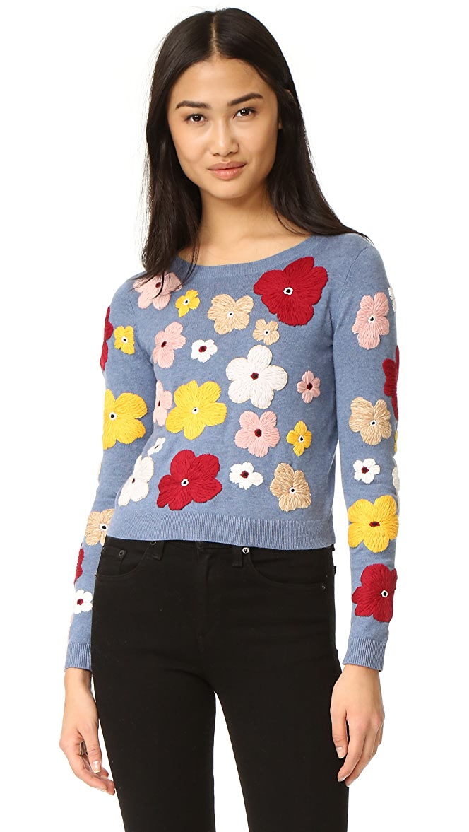 Lucca Couture Womens Heidi Sweater with Floral Embroidery