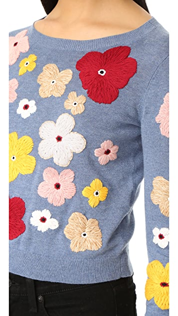 alice + olivia Lucca Graphic Floral Sweater