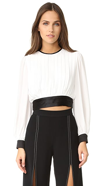 alice + olivia Dakota Pleated Tie Waist Blouse