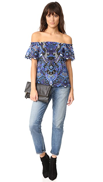 alice + olivia Maxie Off Shoulder Ruffle Blouse