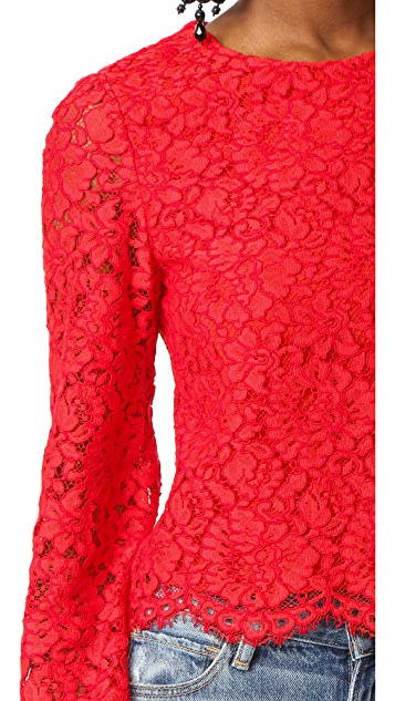 alice + olivia Pasha Bell Sleeve Lace Blouse