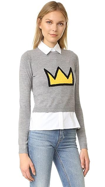 alice + olivia AO x Basquiat Nikia Crown Pullover