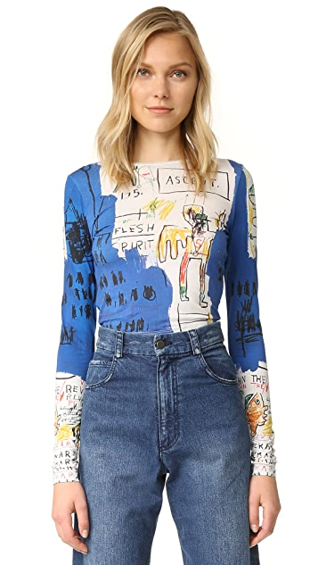 alice + olivia AO X Basquiat Long Sleeve Crop Top
