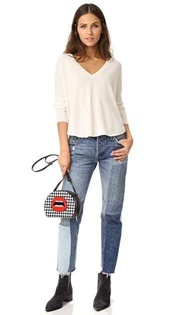 alice + olivia Bobbie Long Sleeve V Neck Sweater