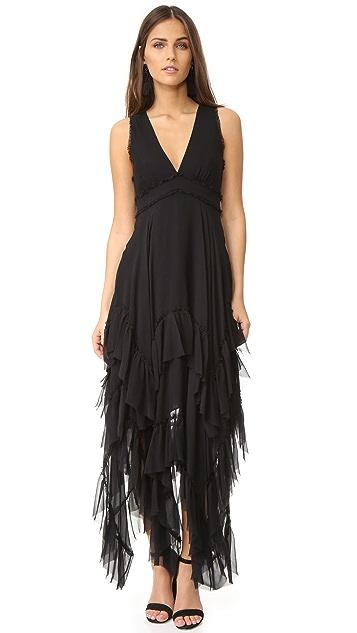 alice + olivia Brynn Handkerchief Ruffle Gown