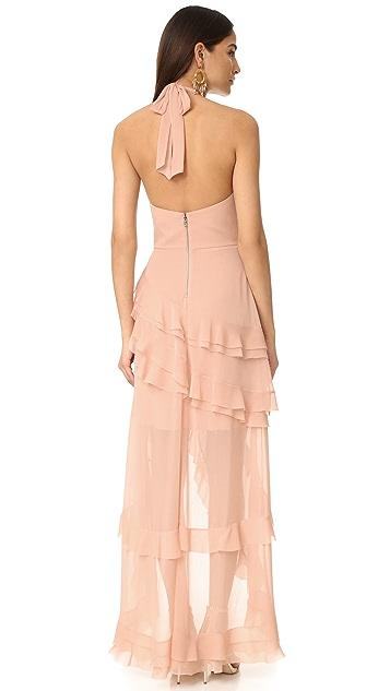 alice + olivia Carma Asymmetrical Ruffle Gown