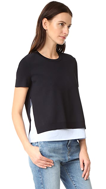 alice + olivia Iva Short Sleeve Crew Neck Shirt