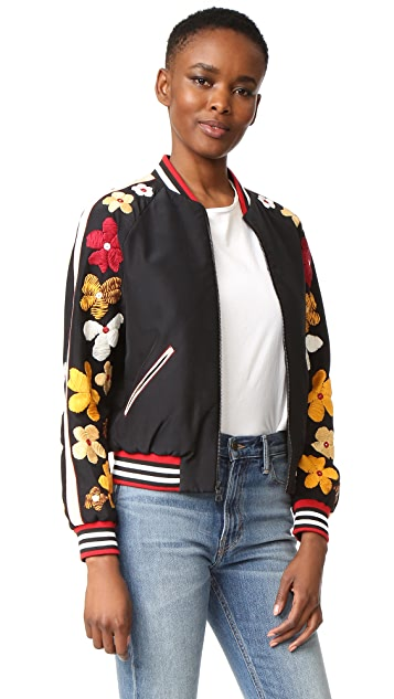 alice + olivia Tony Embellished Sleeve Cropped Bomber