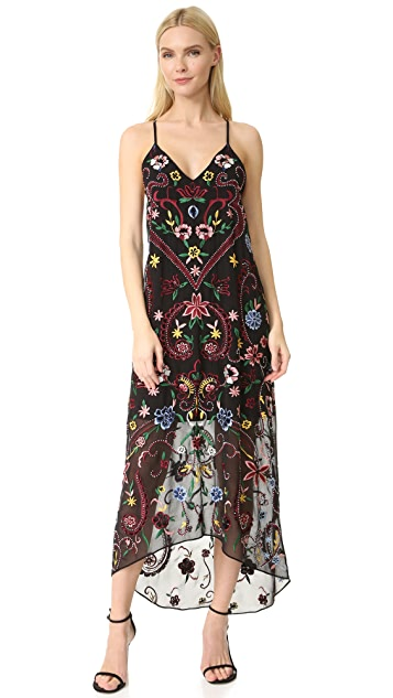 alice + olivia Jameson Embroidered Y Back Dress