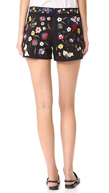 alice + olivia Marisa Embroidered Shorts