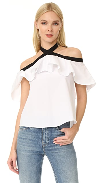 f68eeec8e52882 alice + olivia Alyssa Off Shoulder Halter Blouse | SHOPBOP