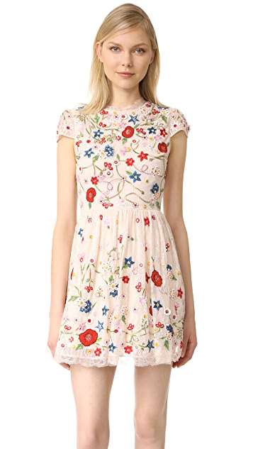 alice + olivia Ariel Embroidered Cap Sleeve Dress