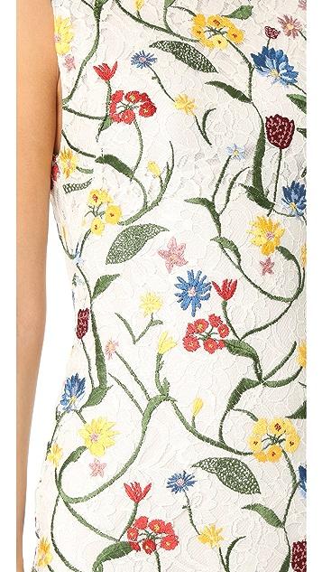 alice + olivia Nat Embroidered Mini Dress
