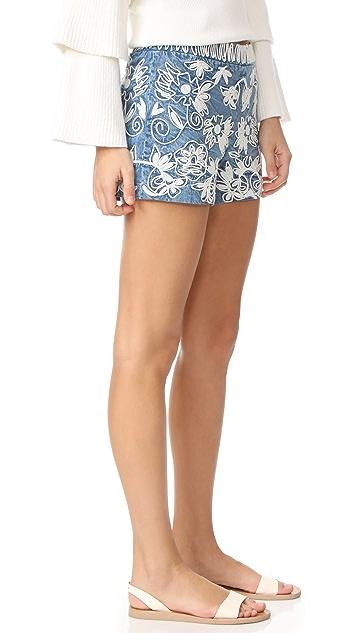 alice + olivia Marisa Embroidered Back Zip Shorts