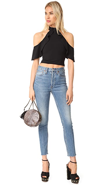 alice + olivia Cabot Cold Shoulder Ruffle Crop Top