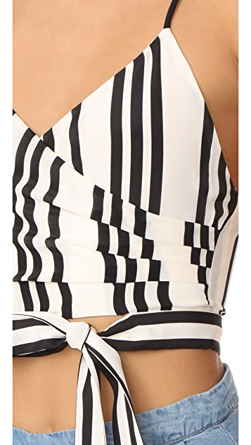 alice + olivia Rayna Tie Front Cross Over Tank