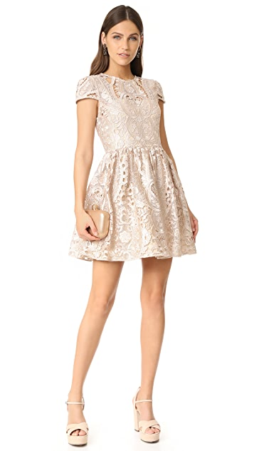 alice + olivia Gracia Full Cap Sleeve Dress