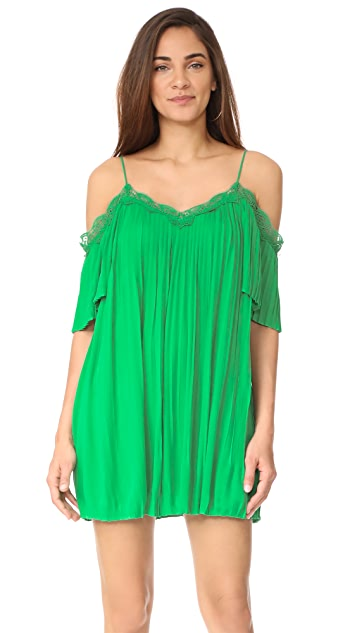 alice + olivia Mimi Cold Shoulder Pleated Dress