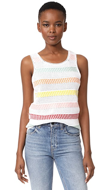 alice + olivia Trinity Textured Stripe Shell