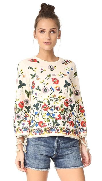 alice + olivia Lenora Embroidered Bell Sleeve Tunic